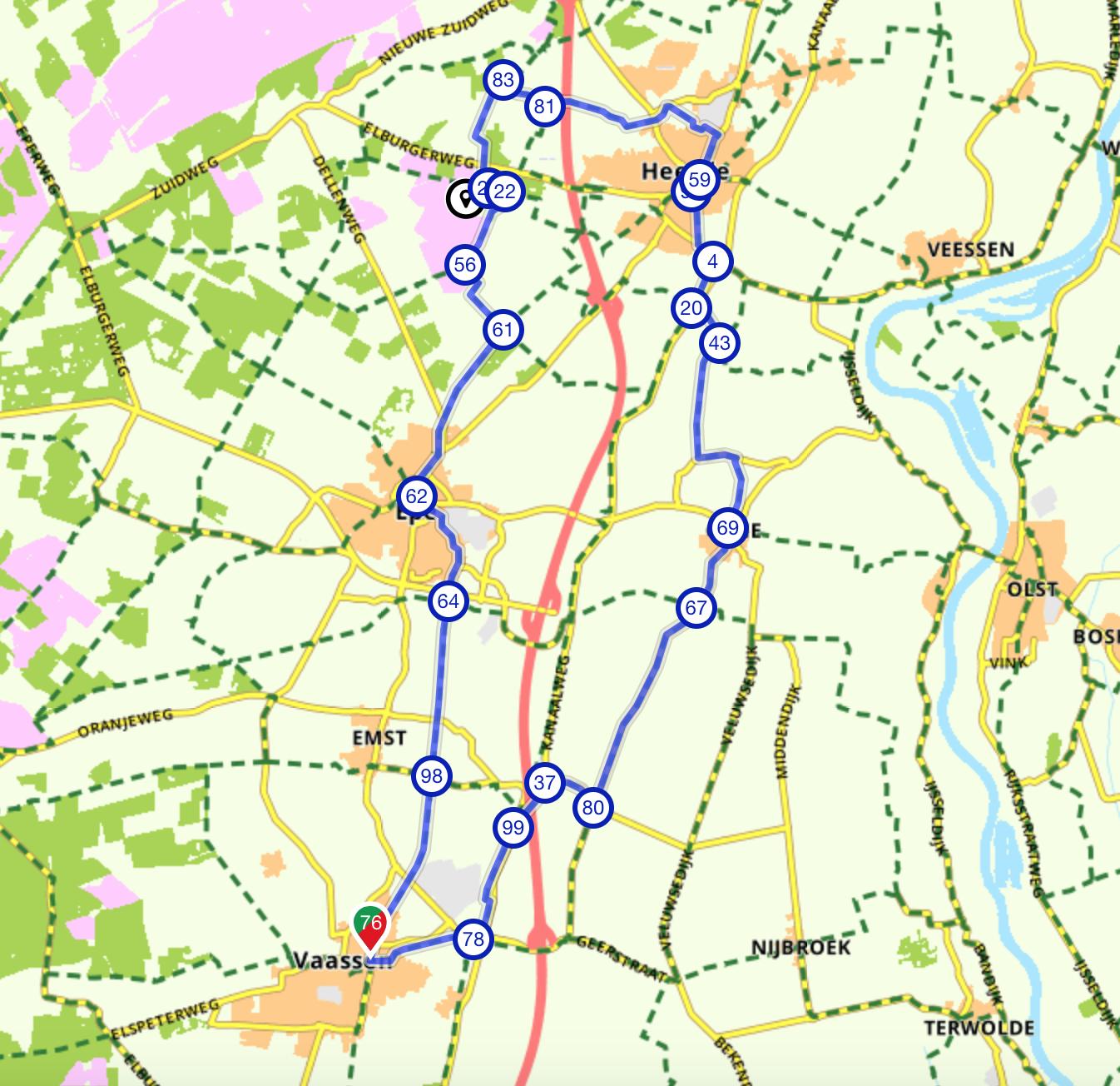 Fietsroute Schaapskooi Epe Heerde 35 km